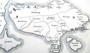 Kaart van het eiland Bali