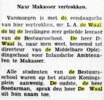 L.A.deWaalbenoeming Makassar1933